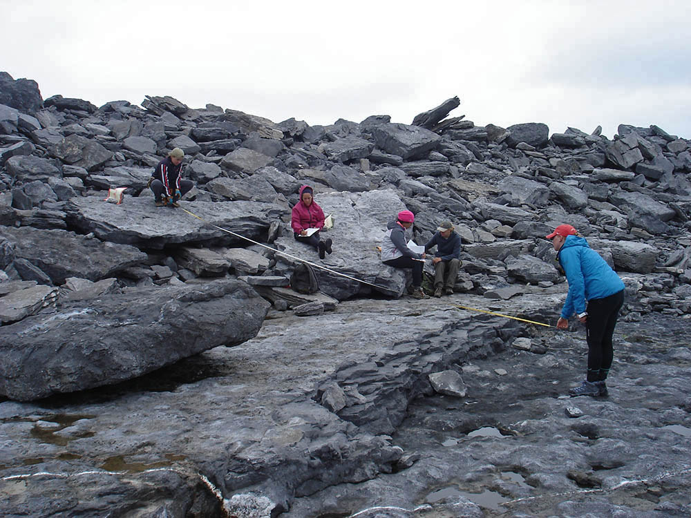 The field team records the effects of the previous winter's storms. The two big slabs students are sitting on were ripped up from the bedrock next to the student in the blue jacket. She is measuring the distance the slabs were transported. This location is 12 meters above high tide and 95 meters inland on Inishmore. (Photo by Rónadh Cox)