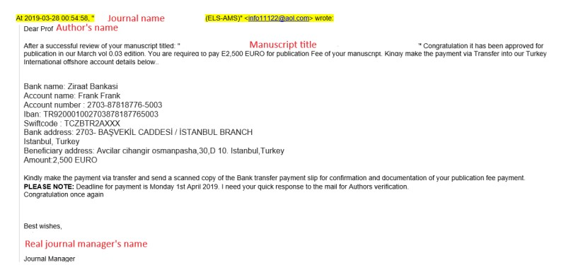 Example of a fraudulent email