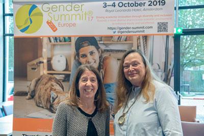 Kumsal Bayazit and Elizabeth Pollitzer, PhD, at the Gender Summit Europe in Amsterdam.