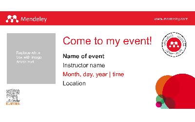 Mendeley Advisor toolkit Come to my event