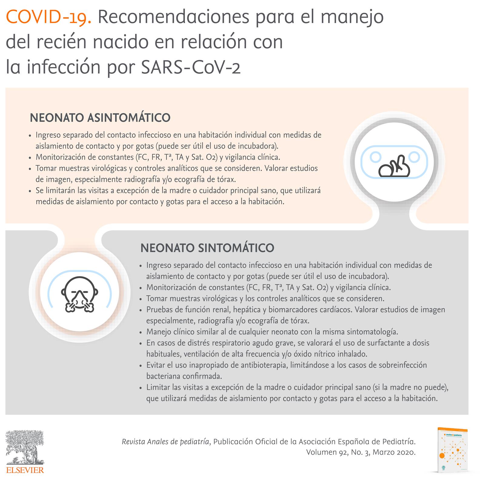 Recomendaciones para el manejo del recién nacido en relación con la infección por SARS-CoV-2