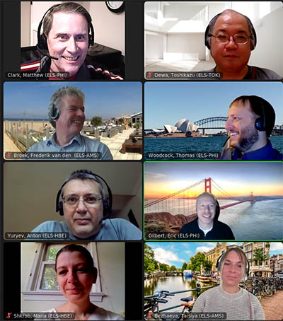 Dr. Matthew Clark (upper left) meets with his international team on Zoom.