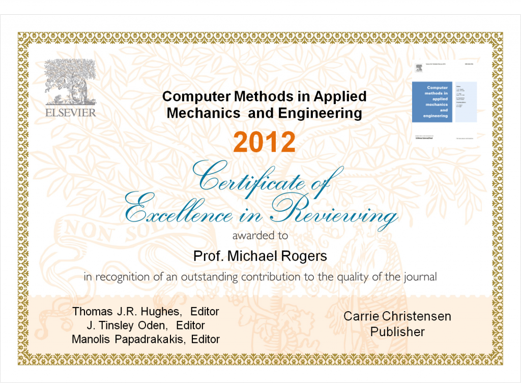 Figure 1. Example of a Certificate of Excellence in Reviewing, presented to a journal's 'top' reviewers.