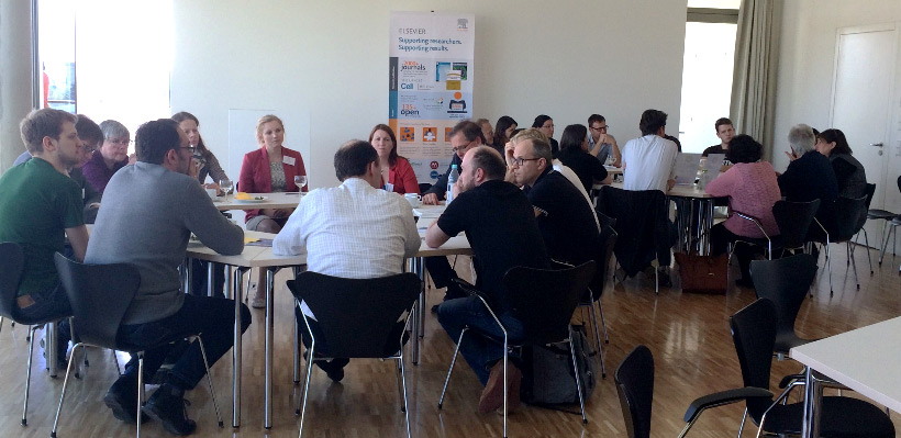 The World Café featured themed tables hosted by representatives of Cell Press, The Lancet, and other Elsevier groups.