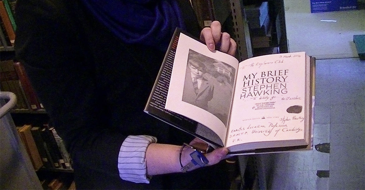 At the Explorers Club, Steven Hawking autographed his memoir with a thumbprint. (Photo by Terry Ballard)