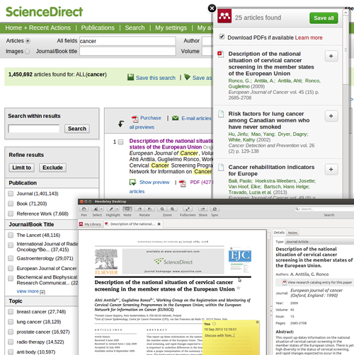 The ScienceDirect Web Importer enables ScienceDirect users to import documents into Mendeley.