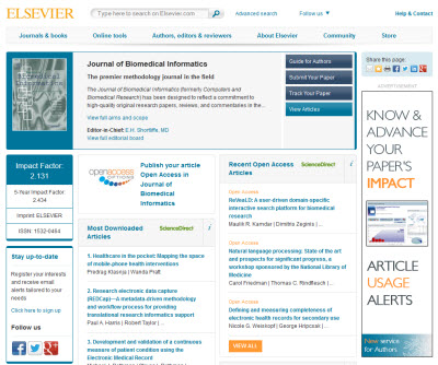 Journal of Biomedical Informatics homepage
