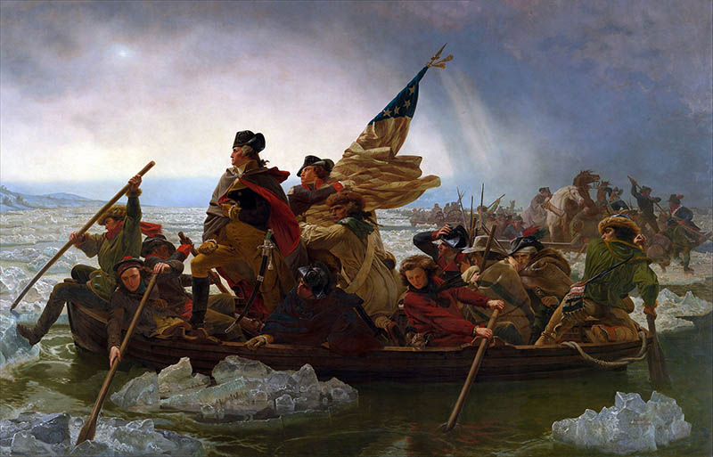 "Alt text = ""Classic painting of George Washington and his troops crossing the ice-clogged Delaware River, by Emanuel Leutze, 1851."""