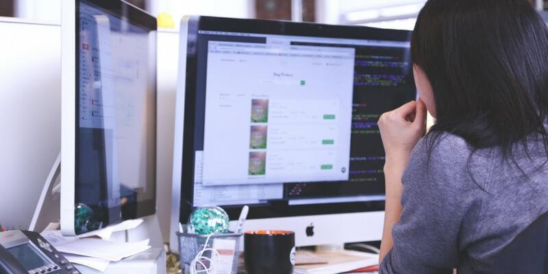 Girl at desk attending gender webinar
