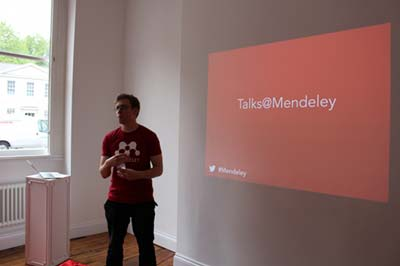 Luke Dormehl gives a presentation for Talks@Mendeley.
