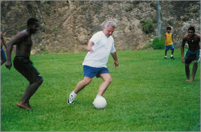 "Professor Constantino Tsallis, PhD, Editor of Physica A, ""training for the World Cup."" He lives in Rio de Janeiro."