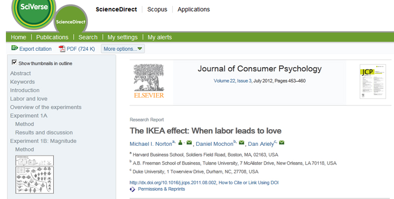 IKEA effect article in Journal of Consumer Psychology