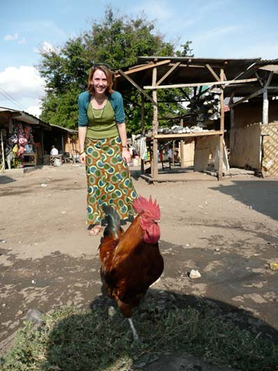 Liesbeth Kanis in an outdoor market in Morogoro.