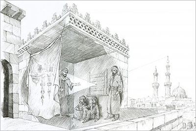 Creative illustration depicting Ibn al-Haytham experimenting in Cairo to prove that we see because light from objects travels in a straight line into our eyes (Source: 1001 Inventions: The Enduring Legacy of Muslim Civilization © 1001 Inventions)