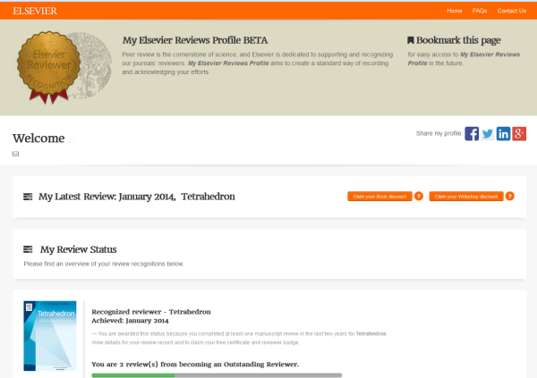 My Elsevier Reviews Profile