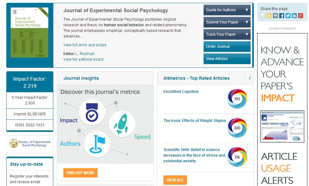 An example of an altmetrics pod on the Elsevier.com homepage of the Journal of Experimental Social Psychology.