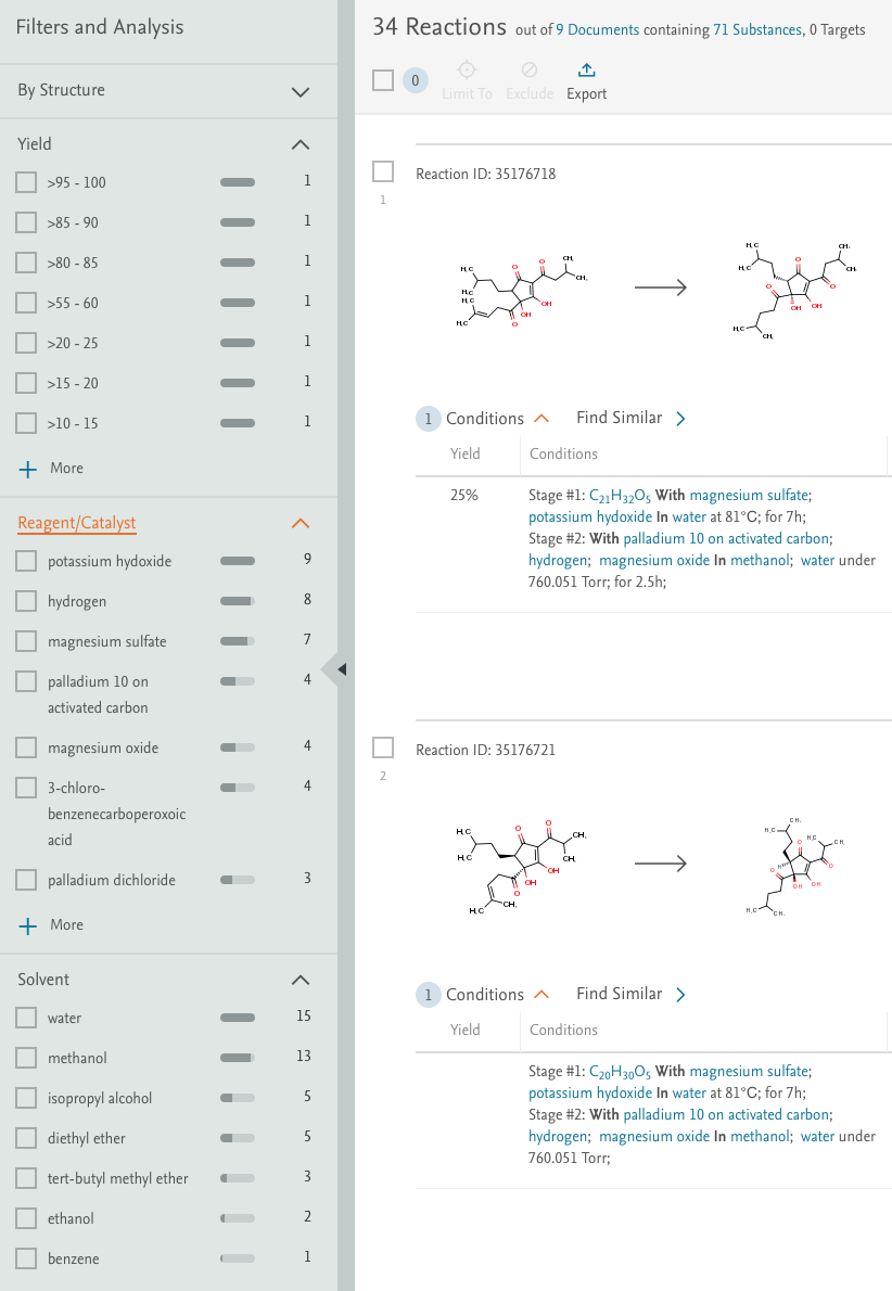 Reaxys offers multiple options to filter and refine hit sets. - Reaxys |Elsevier Solutions