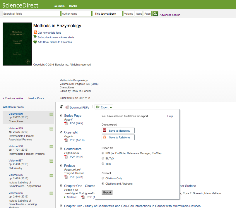 Export Book Chapters and References to Mendeley - Screenshot