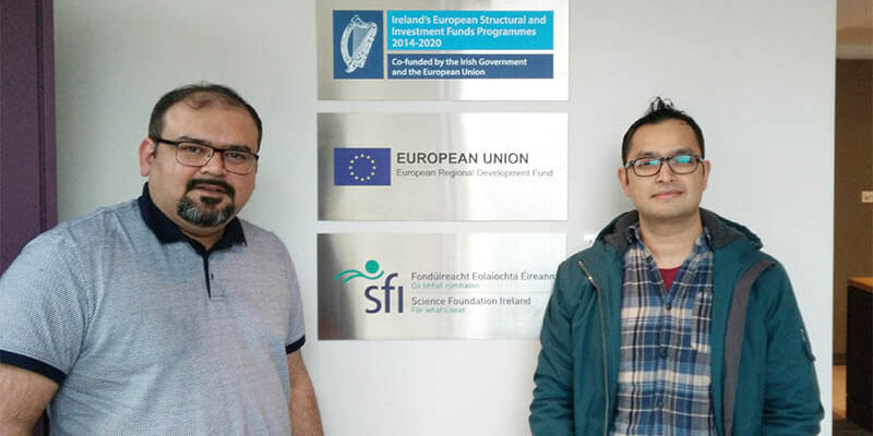Research Associate Waqas Khawaja  (left) in the Semantic Web group and PhD Student Mohan Timilsina in the Machine Learning & Statistics group at the Insight Center for Data Analytics, National University of Ireland, Galway.