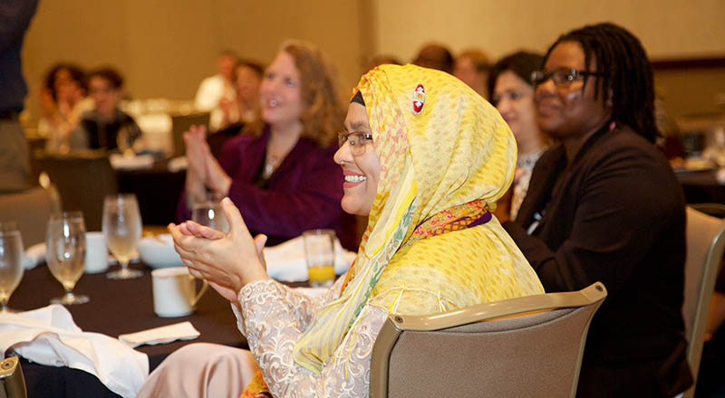 Dr. Hasibun Naher and her colleagues applaued speakers at the OWSD-Elsevier Foundation Award ceremony.