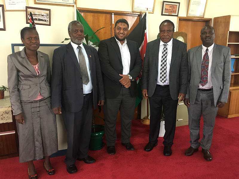 Meeting with leaders from Moi University - Kenya to discuss possible partnership development with Elsevier (left to right): Prof. Laban Ayoro, Vice Chancellor; Prof. Ambrose Kiprop, Africa Centre of Excellence Director; Prof. Charles Lagat, International Relations Director; and Sherif Ghazy, Sales Manager Africa.