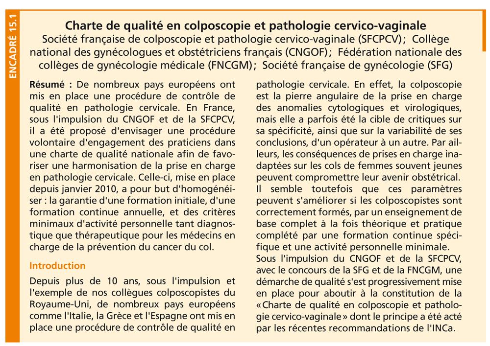 Charte de qualité en colposcopie et pathologie cervico-vaginale