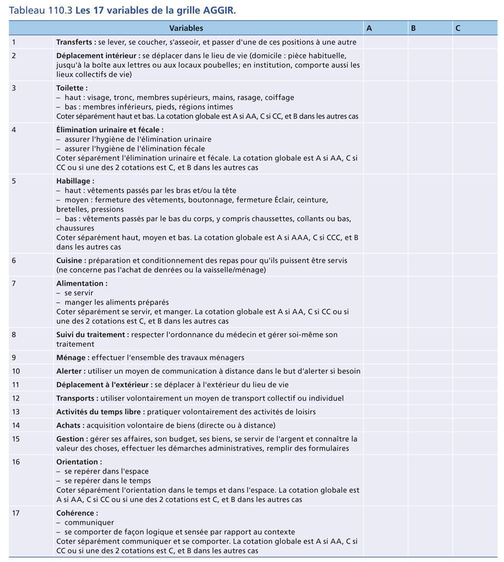 Tableau 110.3 Les 17 variables de la grille AGGIR.