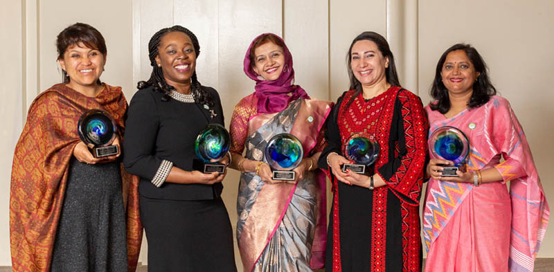 Dr. Tabbasum Mumtaz (center) poses with the other winners of the 2019 OWSD-Elsevier Foundation Award for Women in Science in the Developing World at the Annual AAAS Meeting in Washington, DC. (Photo by Alison Bert)