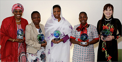 <strong>The winners of the 2015 Elsevier Foundation Awards for Women Scientists in the Developing World:</strong> Rabia Sa'id, PhD (Nigeria); Mojisola Usikalu, PhD (Nigeria); Nashwa Eassa, PhD (Sudan); Mojisola Adeniyi (Nigeria); and Dang Thi Oanh, PhD (Vietnam) &mdash; Photo by Alison Bert