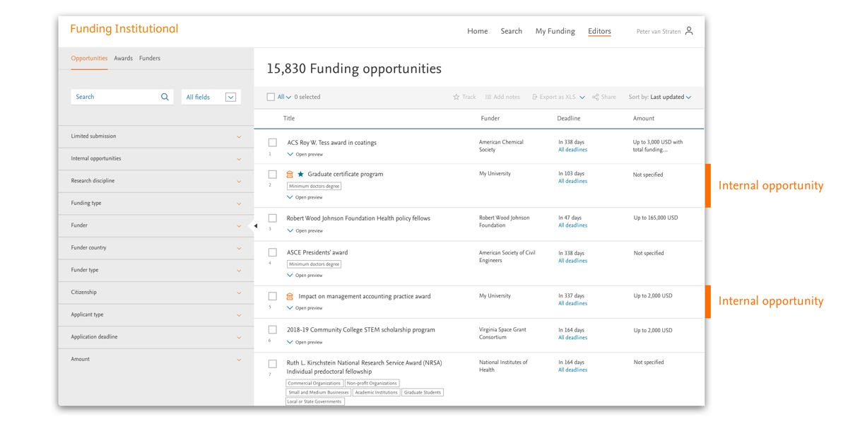 Full screen-shot of 'Funding opporunities' | Elsevier Solutions