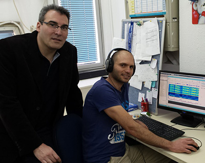 Yaniv Zigel, PhD, and Eliran Dafna in their lab at Ben-Gurion University of the Negev.