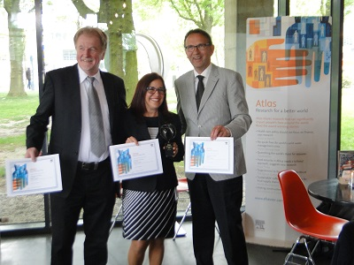 William Hogland, Lilliana Abarca-Guerrero and Ger Maas receiving their Atlas Award