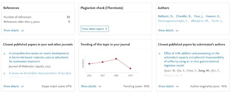 A screenshot of the manuscript dashboard