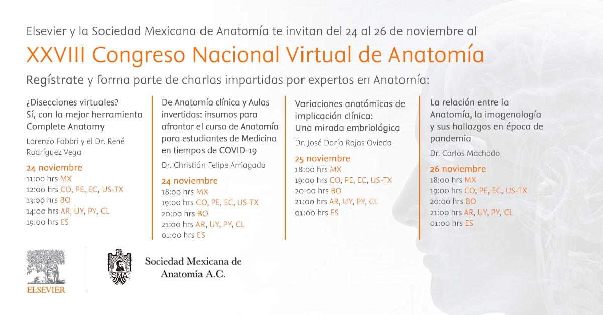 Elsevier estará presente en el XXVIII Congreso Virtual de Anatomía de México