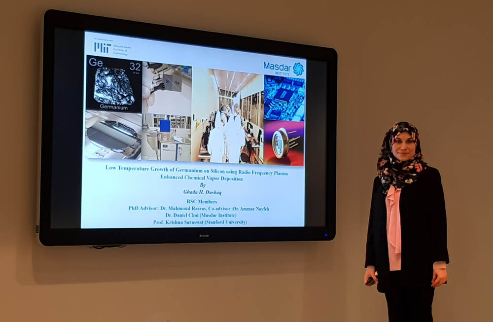 Dr Ghada Dushaq defends her PhD thesis at Masdar Institute of Science and Technology, Abu Dhabi.