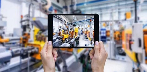 Equipment manufacturing chain viewed through tablet