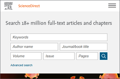 ScienceDirect search options