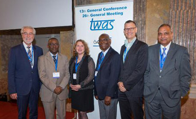 The Elsevier Foundation-supported food security panel (l to r): Dr. Hans Rudolf Herren, Swiss agronomist/entomologist and recipient of the World Food Prize; TWAS Executive Director Romain Murenzi; Elsevier Foundation Program Director Ylann Schemm; Dr. Moktar Toure, panel chair and VP of the Senegalese Academy of Science, Dr. Michiel Kolman, SVP of Global Academic Relations at Elsevier; and Dr. M. Ajmal Khan, Qatar Shell Professorial Chair for Sustainable Development at Qatar University. (Photo © Foto Weinwurm)