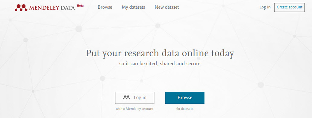 Mendeley Data enables researchers to share their data online and search for other researchers' data sets.