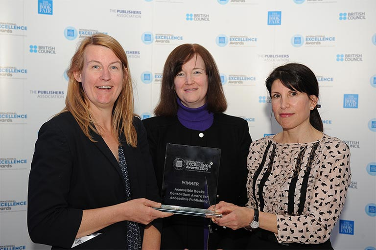 Michele Woods (center), Director of the World Intellectual Property Organization's Copyright Law Division, with Dr. Alicia Wise (left) and Dr. Marcia Balisciano (right) of Elsevier's parent company, RELX Group, accepting the ABC International Excellence Award for Accessible Publishing, Publisher Category, for Elsevier. (Photo: London Book Fair)