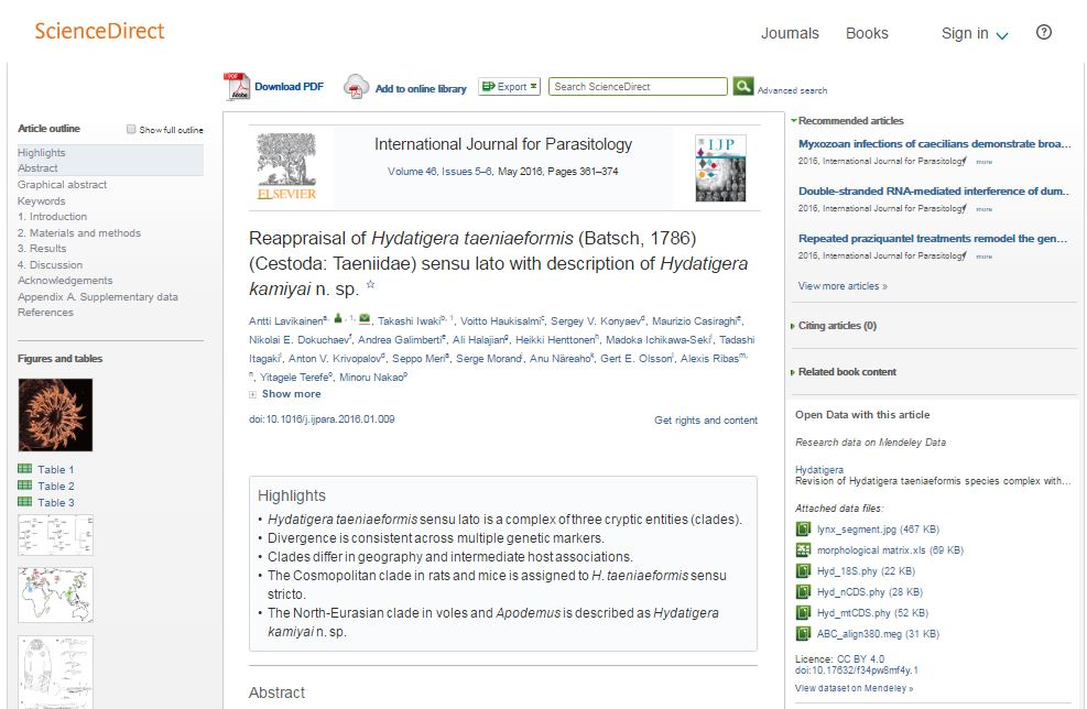 Example of Mendeley Data datasets on ScienceDirect