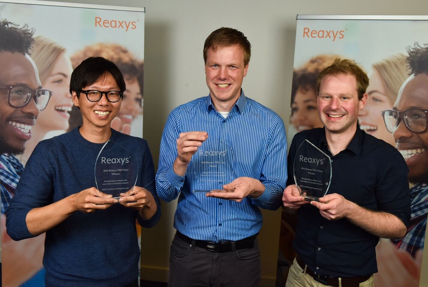 The three winners of the 2016 Reaxys PhD Prize.