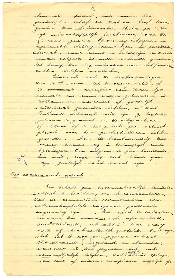 Page 5 of Klautz's Dutch-language speech to the Elsevier Board of Directors in 1937. (From the RELX Group archives, Amsterdam).