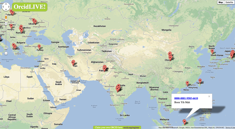 An international project: each label on www.ORCIDlive.org represents a recently updated ORCID where we know the user's location, and for people with public profiles (only 20 percent of users indicate their country). This screenshot shows activity in Taiwan, Malaysia, South Korea, India, Pakistan, China and Iran.