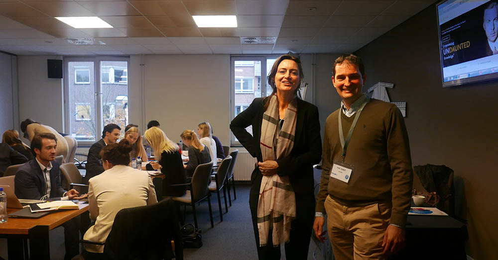 Elsevier's Coralie Bos, MSc, and Mark Siebert, PhD, challenge students to come up with creative ways to reach different audiences about the UN's Sustainable Development Goals.
