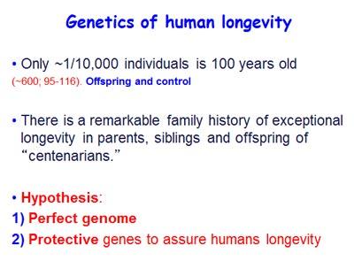 Genetics of human longevity (Source: Nir Barzilai, MD)