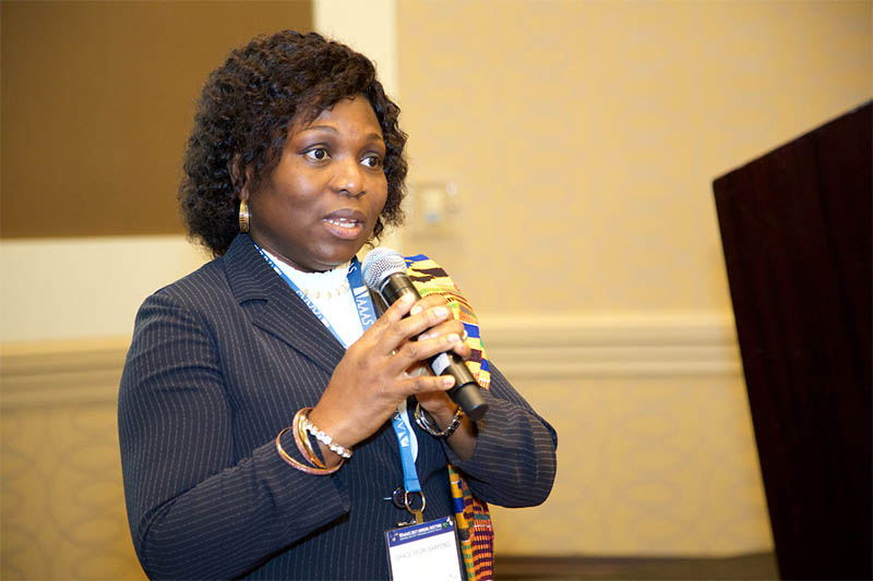 Grace Ofori-Sarpong, PhD, Associate Professor at the University of Mines and Technology in Ghana, accepts the the OWSD-Elsevier Foundation Award. Mycohydrometallurgy (fungi-mediated gold extraction), recovery of precious metals, acid mine drainage mapping and safe practices in artisanal and small-scale gold mining. (Photo by Alison Bert)