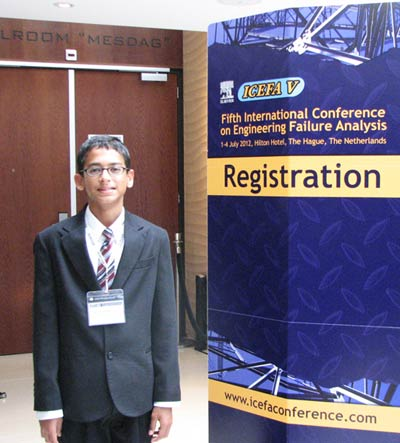 In 2012, Suganth Kannan presented his research at the Fifth Annual Conference on Engineering Failure Analysis (ICEFA) in The Hague.