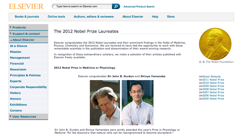 Elsevier's Nobel tribute website describes the achievements of the Nobel laureates and provides free access to the prize-winning research they published with Elsevier..