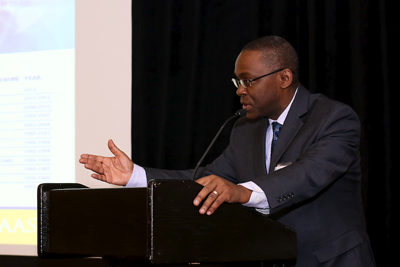 Professor Romain Murenzi, PhD, speaks at the award ceremony at the 2013 AAAS conference in Boston. He is the Executive Director of TWAS and the former Minister of Science and Technology for the government of Rwanda, where he was born. (Photo by Alison Bert)